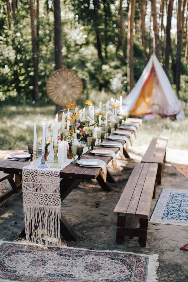 boho outdoor macrame wedding table runner