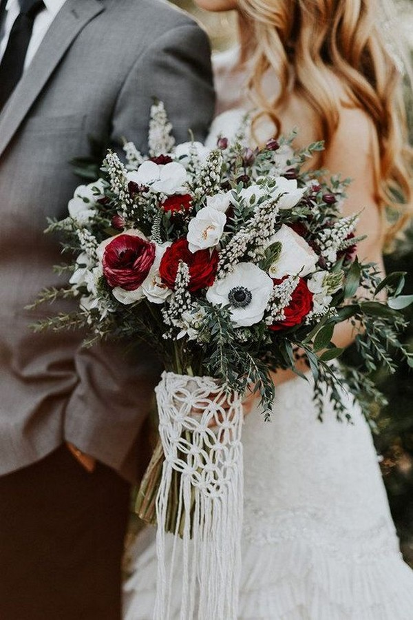 boho wedding bouquet with macrame wrap