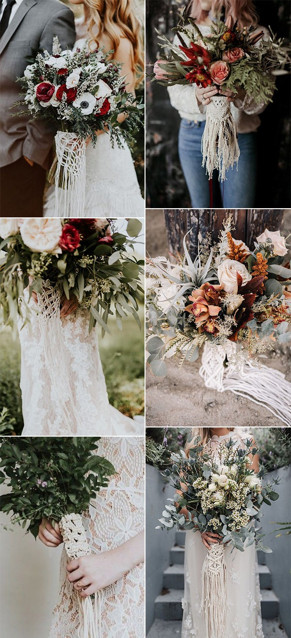 boho wedding bouquets with macrame wraps