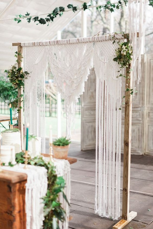 botanical macrame wedding backdrop decoration ideas