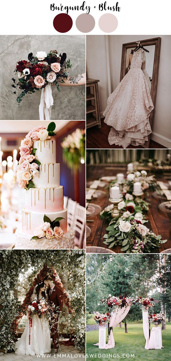 burgundy and blush vintage wedding colors