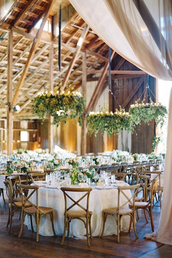 chic barn wedding reception ideas with greenery and draping
