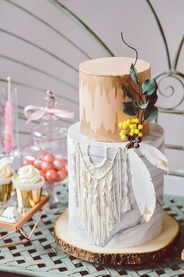 chic bohemian macrame wedding cake