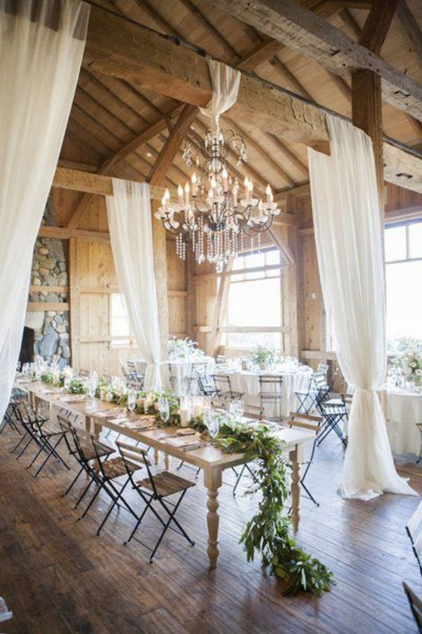 chic country barn wedding reception ideas with white draping