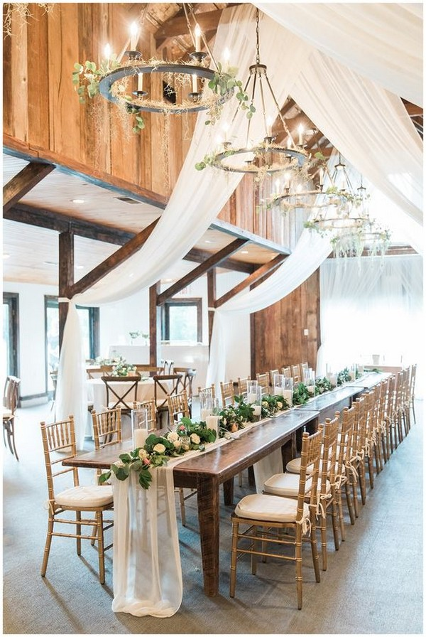 chic country wedding reception ideas with white drapery