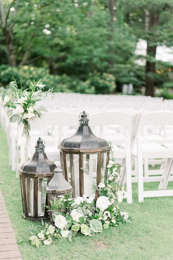 chic outdoor wedding ceremony decoration ideas with vintage lanterns
