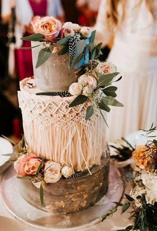 chic rustic fall wedding cake