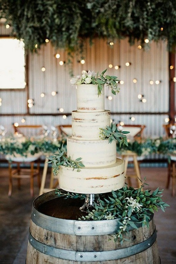 chic rustic wedding cake with greenery