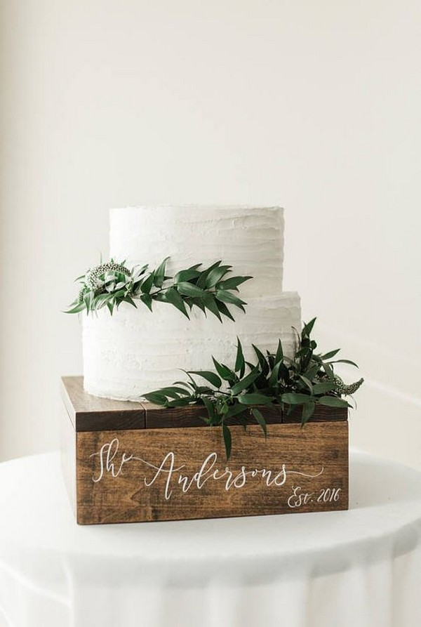 chic rustic white and greenery wedding cake