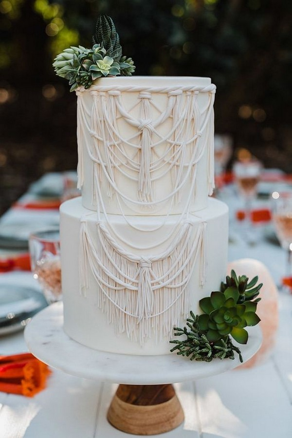 chic white and greenery macrame wedding cake