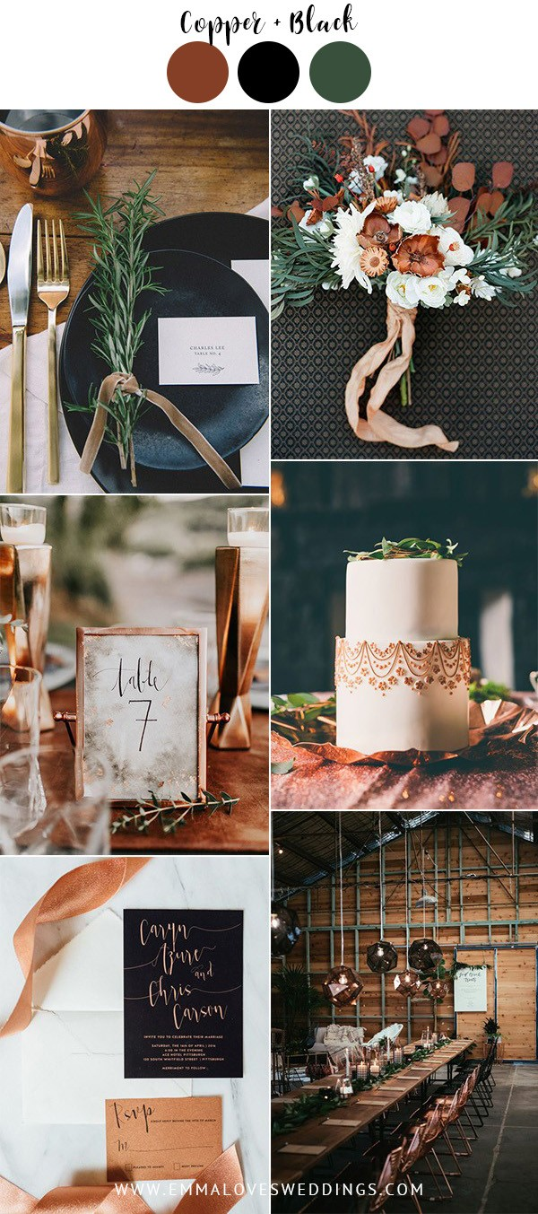 copper and black vintage wedding color ideas