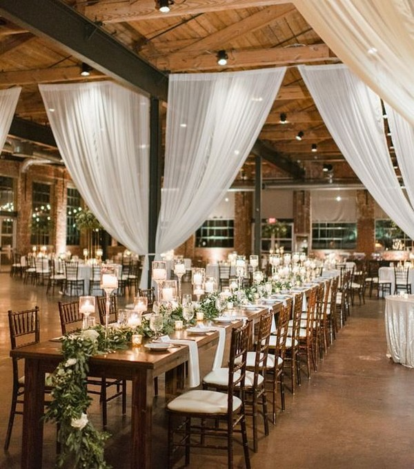 country barn wedding decoration ideas with white draping