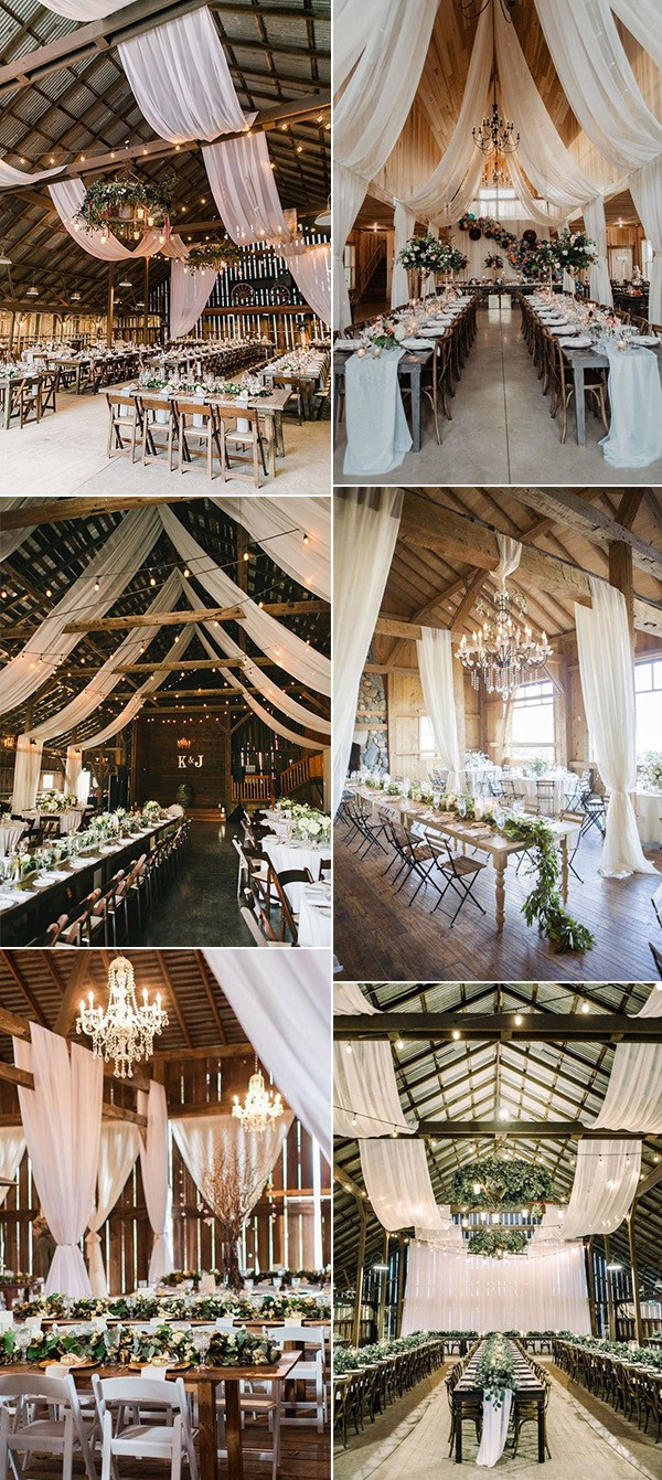 country barn wedding reception decoration ideas with draping