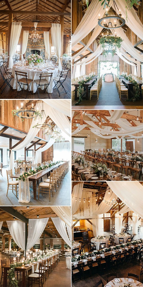 country rustic barn wedding reception ideas with white drapery