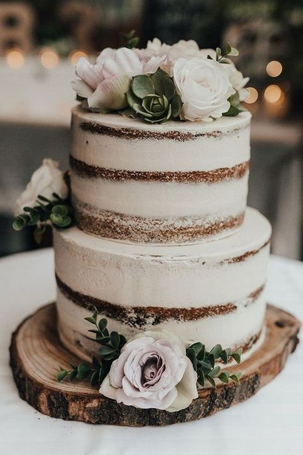 country rustic semi naked wedding cake