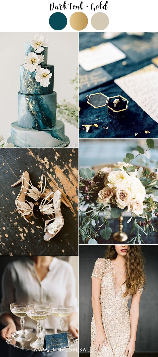 dark teal and gold vintage wedding colors