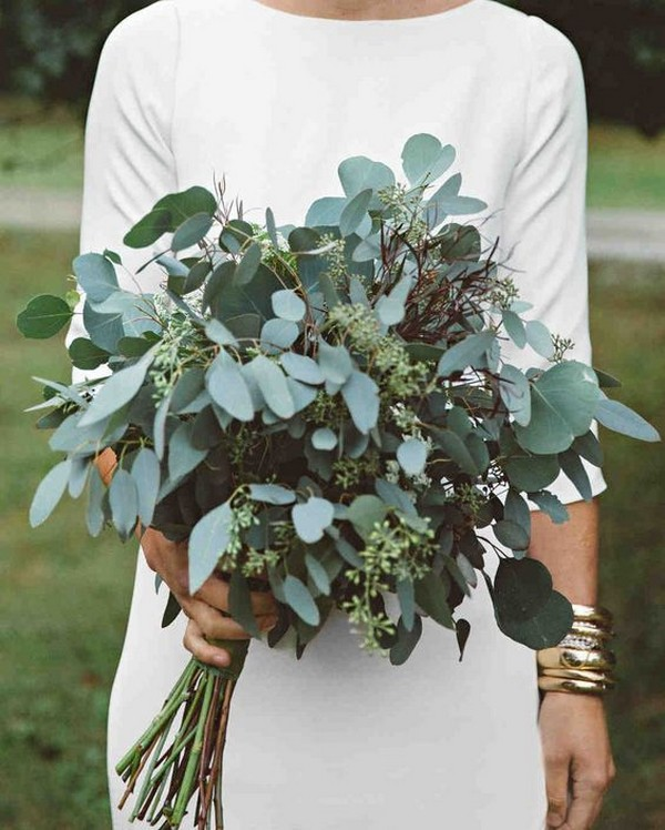 diy greenery wedding bouquet ideas