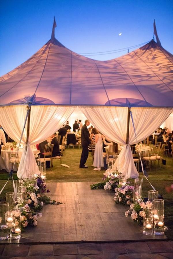 elegant night tented wedding decorations