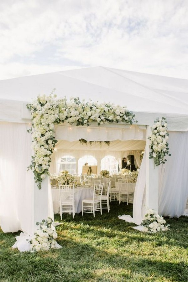 elegant white and greenery tented wedding ideas