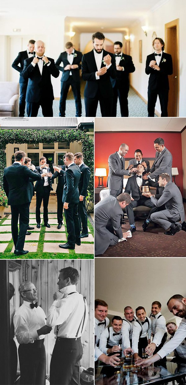 getting ready wedding photo ideas for groom and groomsmen