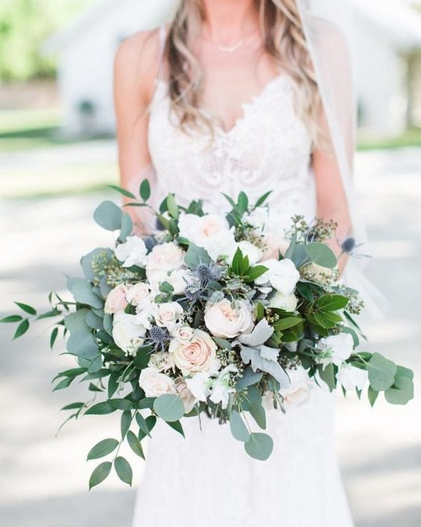 greenery and blush pink wedding bouquet ideas