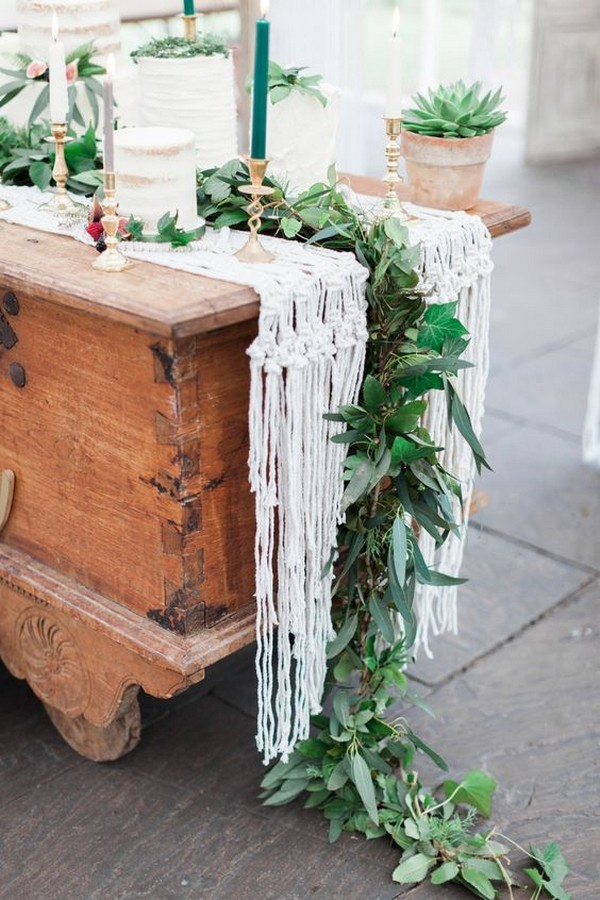 greenery and macrame wedding table runner ideas