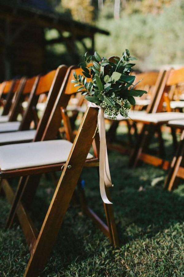 greenery and ribbon simple outdoor wedding aisle decorations