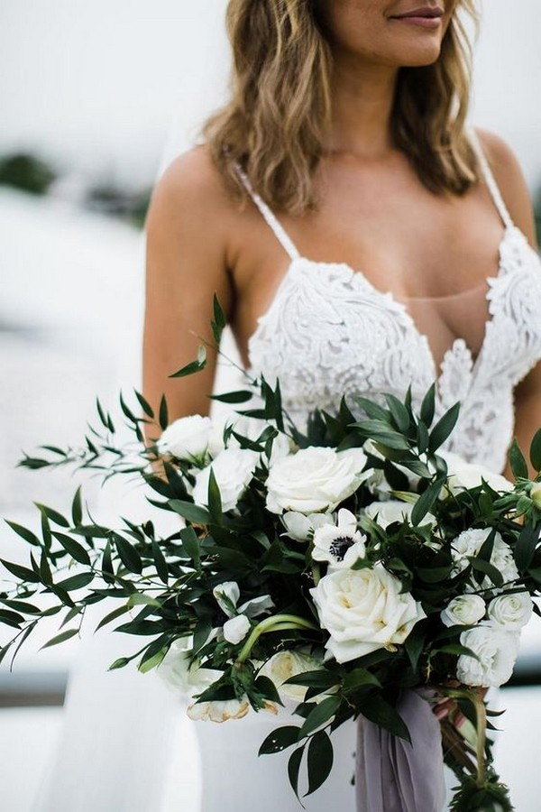 greenery and white wedding bouquet