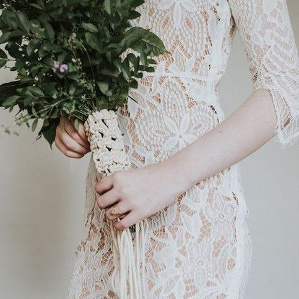 greenery macrame wedding bouquet