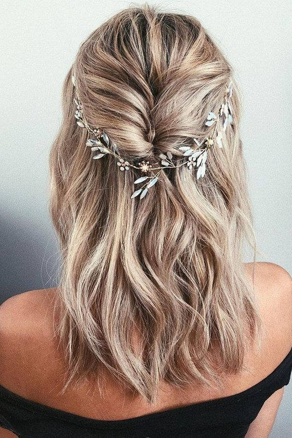 half up half down medium length wedding hairstyle