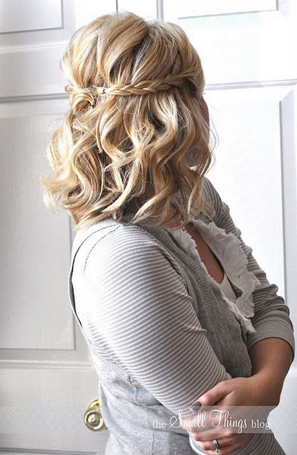 half up half down medium wedding hairstyle