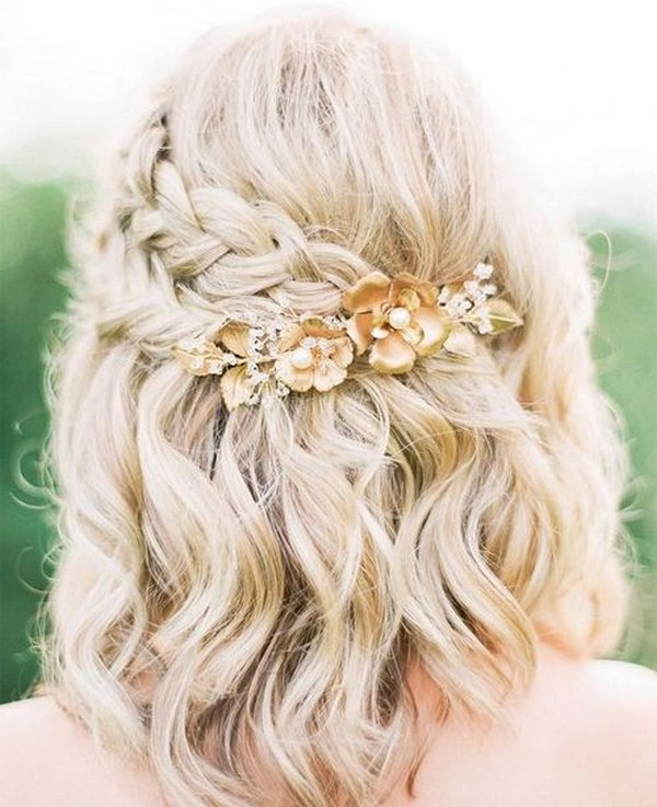 half up half down wedding hairstyle for medium length hair