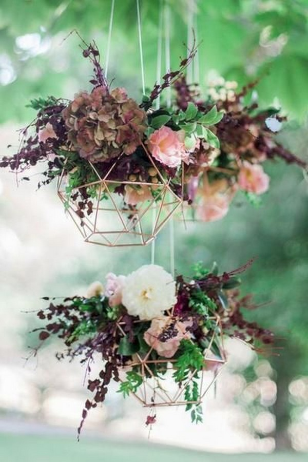 hanging flowers wedding decorations with geometric vase