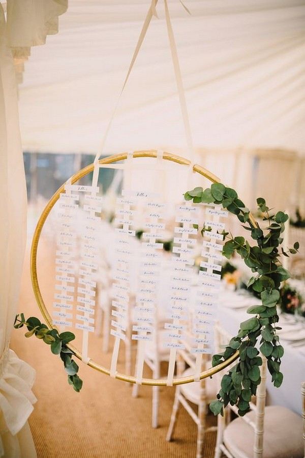 hanging hoop wedding table plan ideas