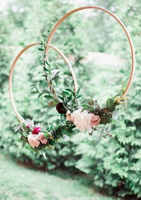 hanging hoops wreath wedding decorations