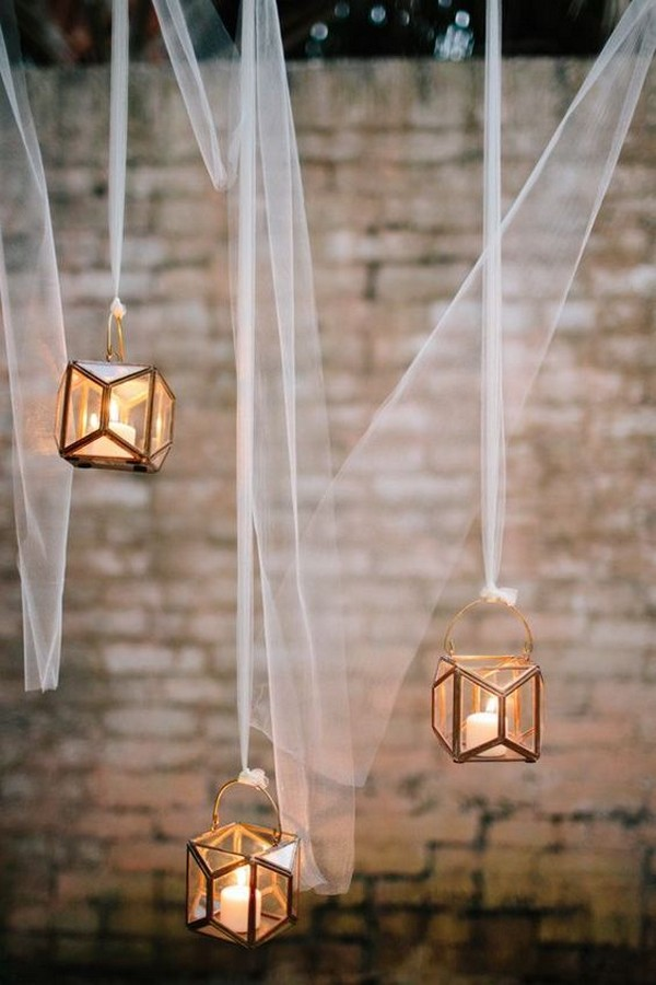 hanging lanterns with candles for wedding decorations