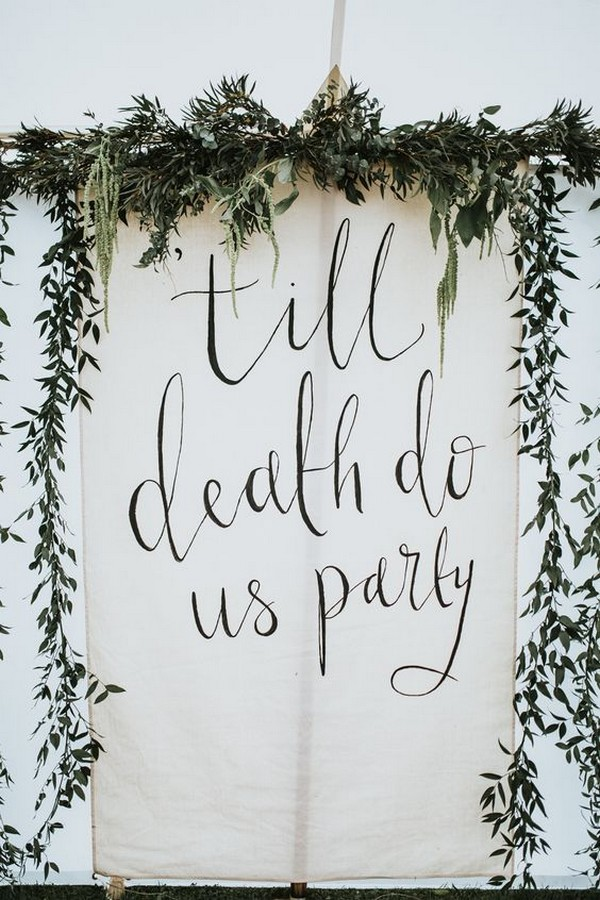 hanging wedding linen sign
