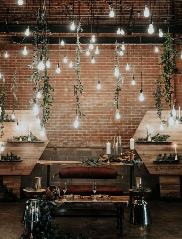 industrial wedding backdrop ideas with hanging lights