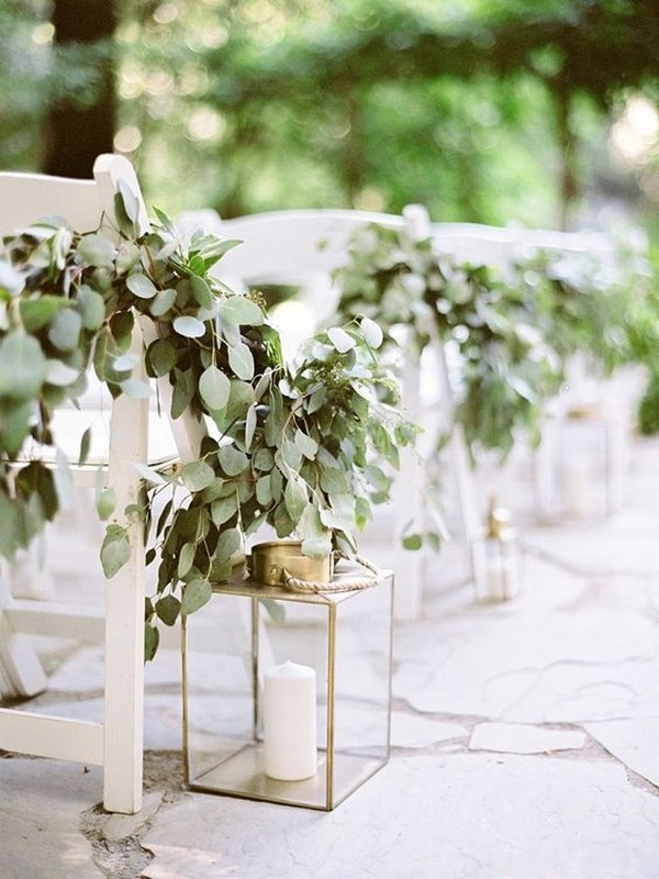 lantern and greenery outdoor wedding aisle decorations