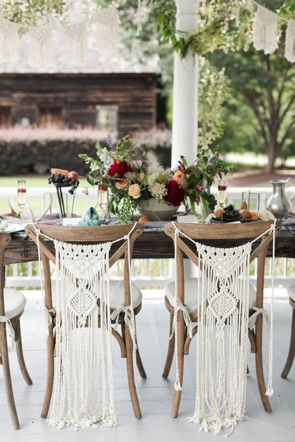 macrame wedding chair back ideas
