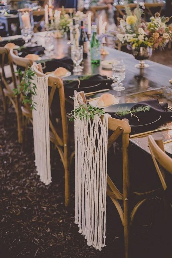 macrame wedding chair decoraiton ideas