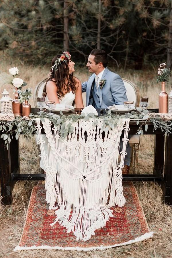 macrame wedding sweetheart table decoration ideas