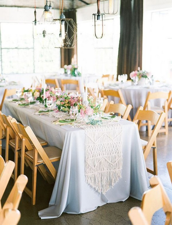 macrame wedding table runner decoration ideas