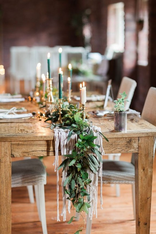 macrame wedding table runner ideas