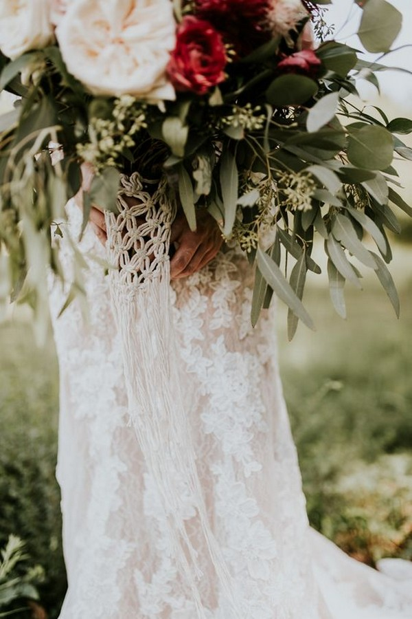 macrame wrap wedding bouquet ideas
