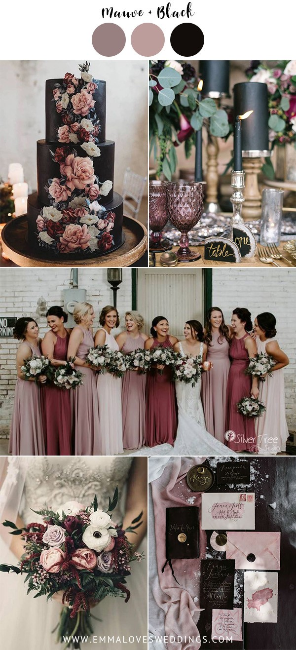 mauve and black vintage wedding color ideas