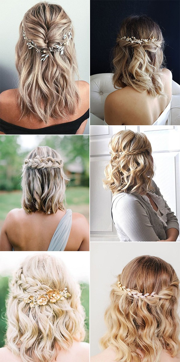 medium length half up half down wedding hairstyles