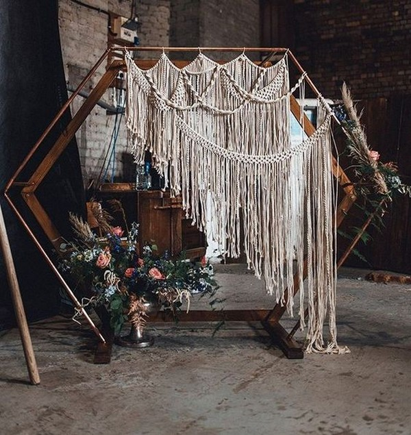 modern boho chic macrame wedding arch ideas