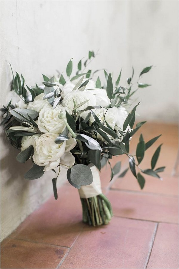 neutral white and green wedding bouquet