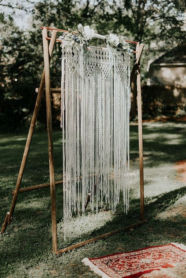 outdoor boho chic macrame wedding arch ideas